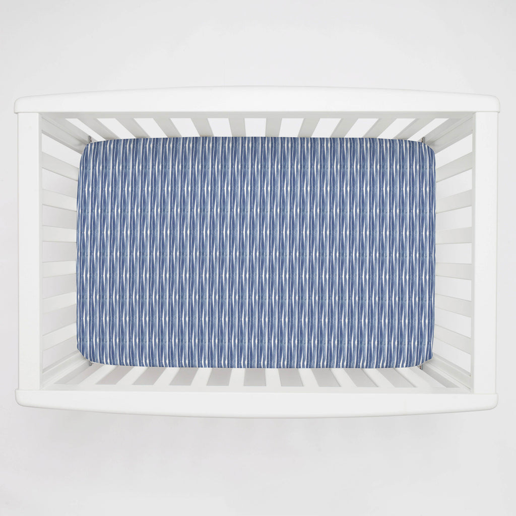 Product image for Blue Ocean Stripe Mini Crib Sheet