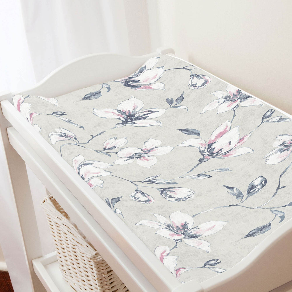 Product image for Pink and Blue Painted Lilies Changing Pad Cover