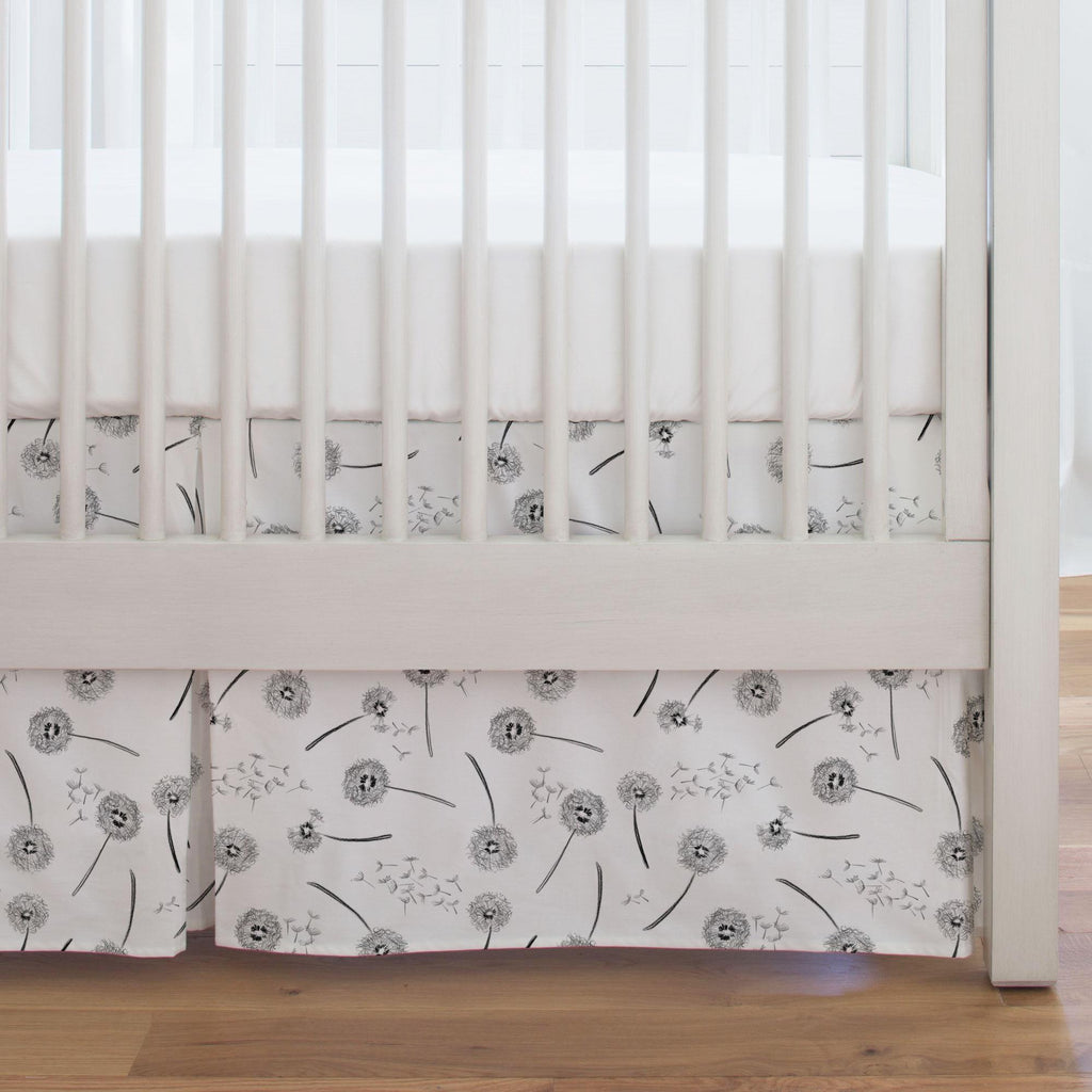 Product image for Hand Drawn Dandelion Crib Skirt Single-Pleat