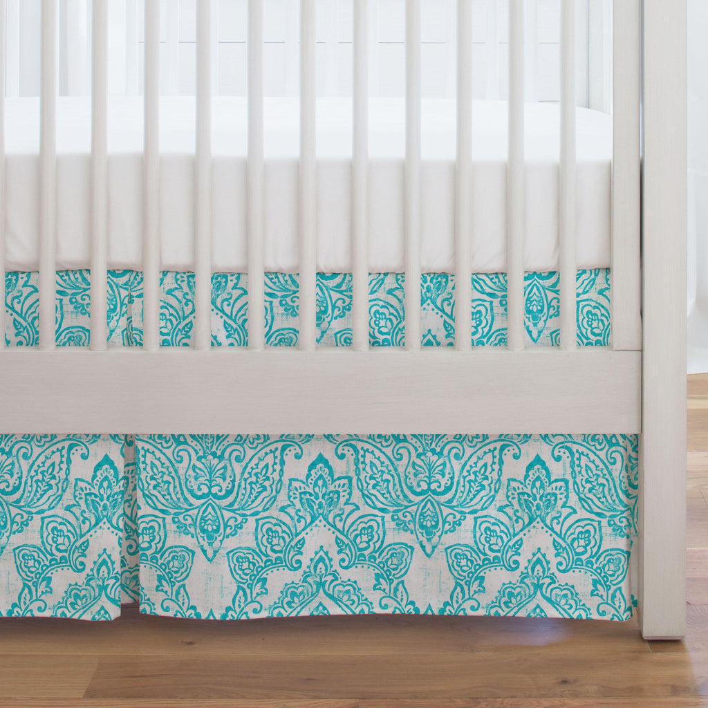 Product image for White and Teal Vintage Damask Crib Skirt Single-Pleat
