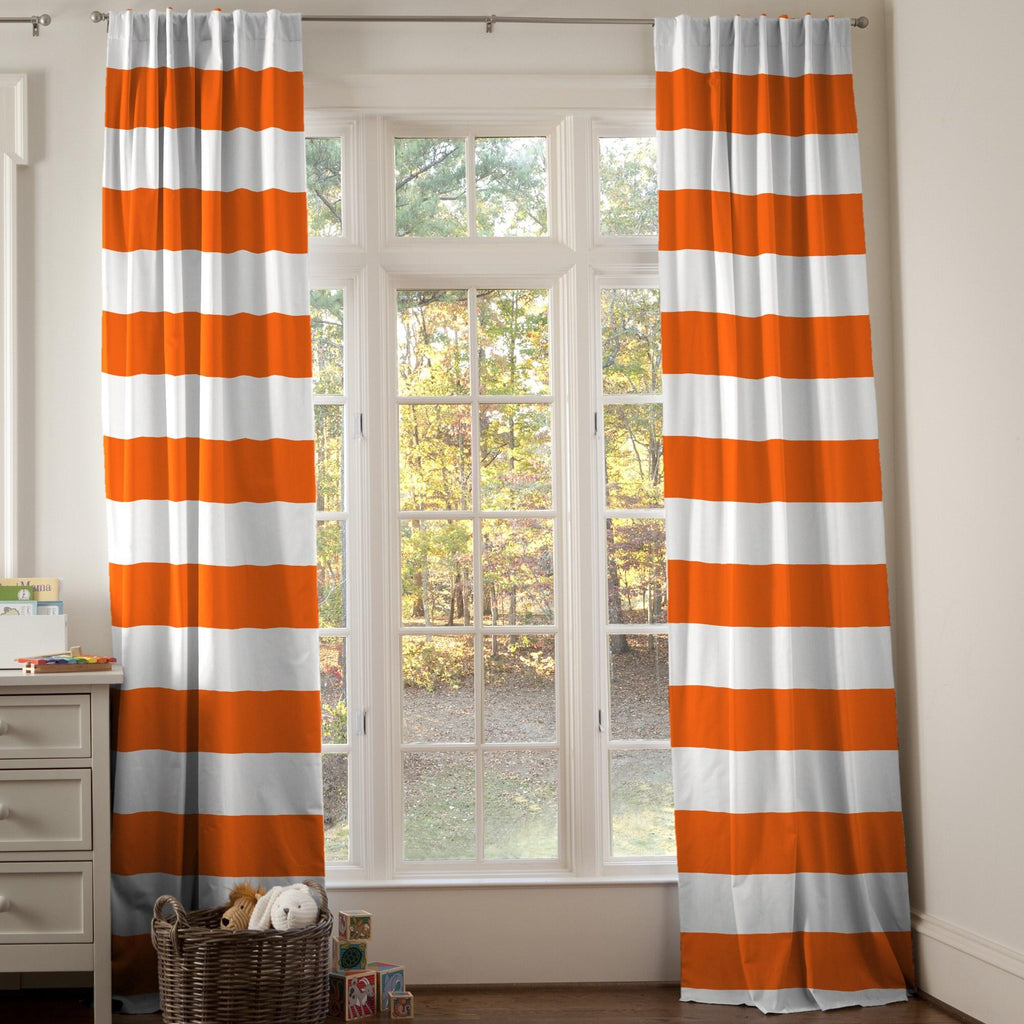 Product image for Orange Horizontal Stripe Drape Panel