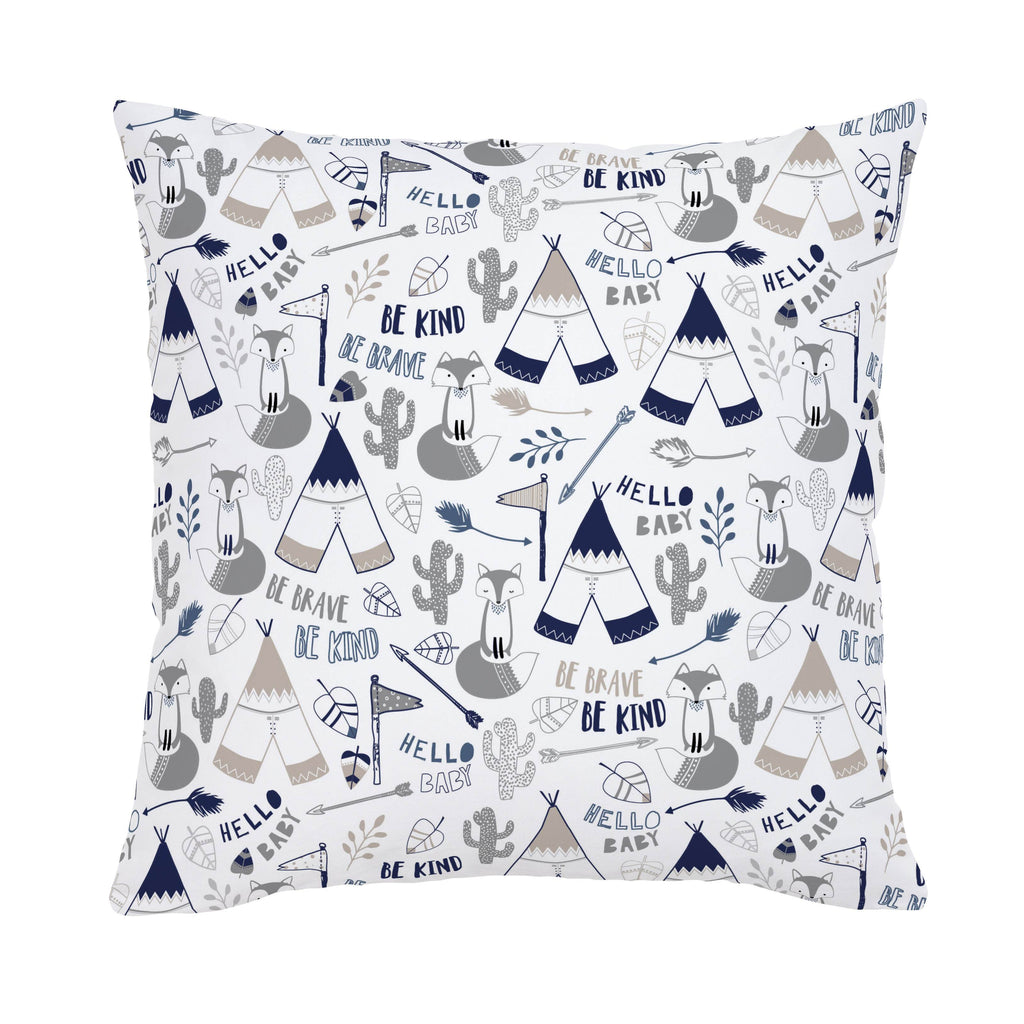Product image for Navy Brave Fox Throw Pillow