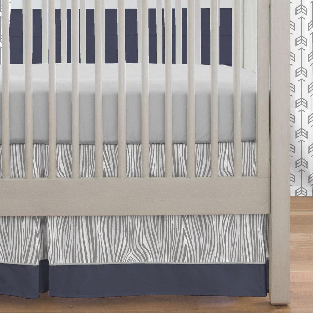 Product image for Gray Large Woodgrain Crib Skirt with Trim