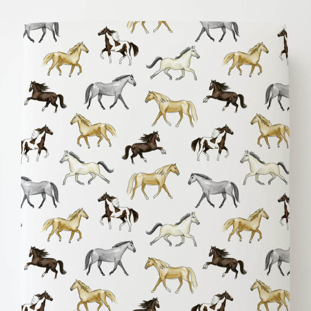 Product image for Watercolor Horses Toddler Sheet Bottom Fitted