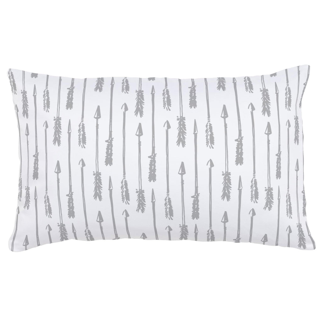 Product image for Silver Gray Hand Drawn Arrow Lumbar Pillow