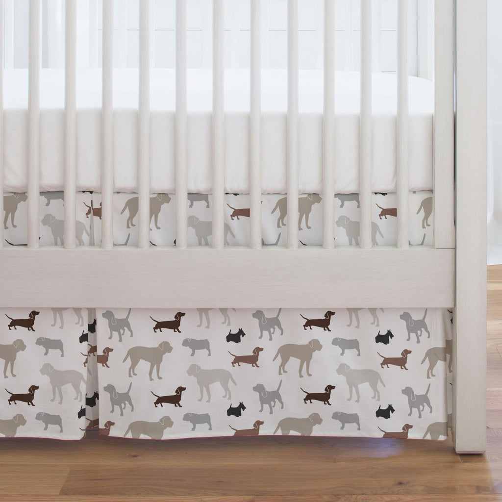 Product image for Brown and Gray Dogs Crib Skirt Single-Pleat