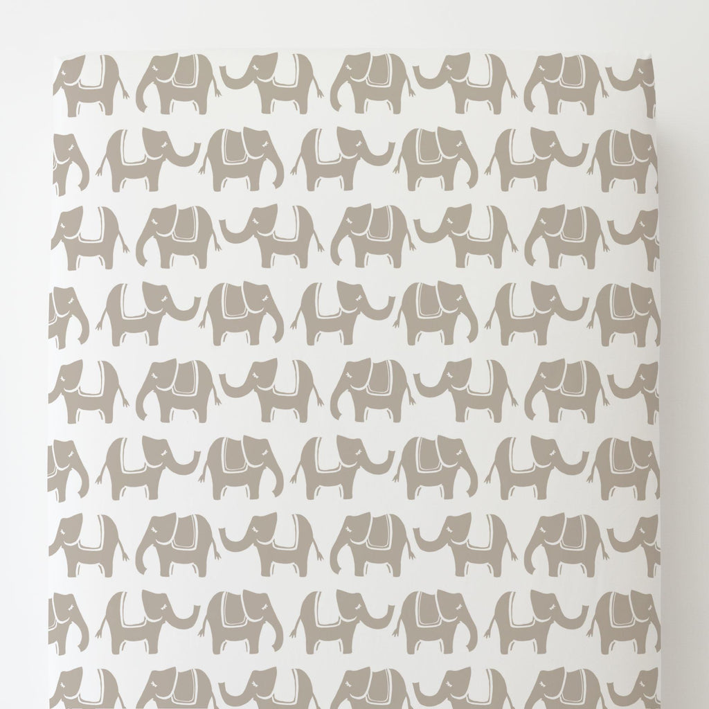 Product image for Taupe Marching Elephants Toddler Sheet Bottom Fitted