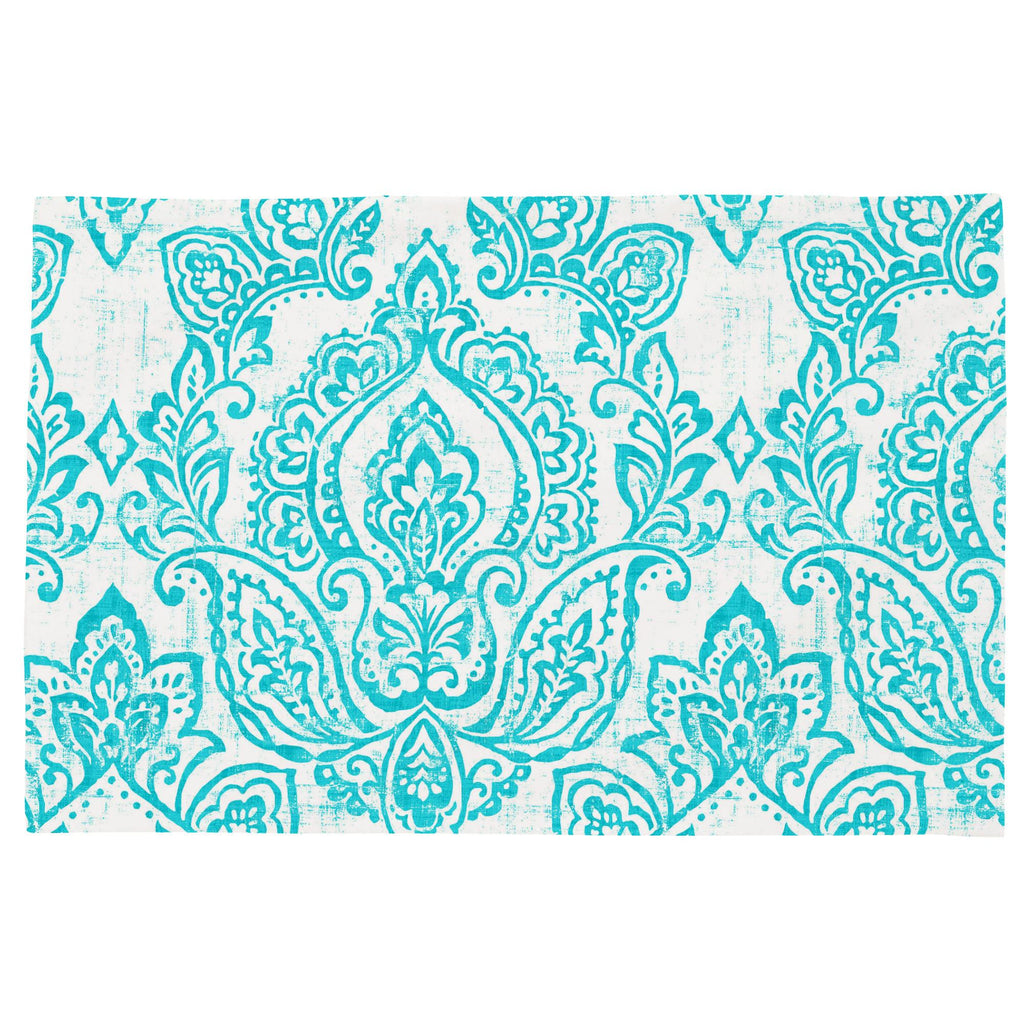 Product image for White and Teal Vintage Damask Toddler Pillow Case