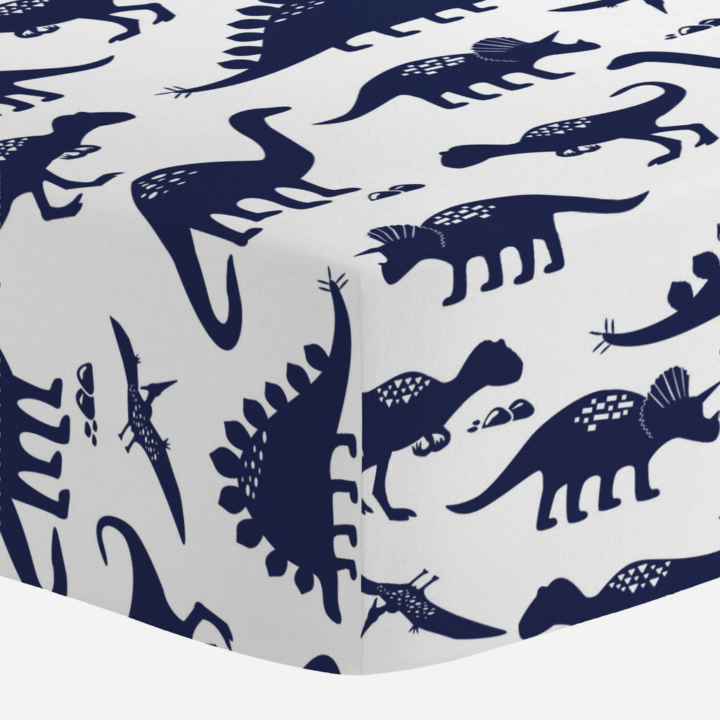 Product image for Navy Dinosaurs Crib Sheet
