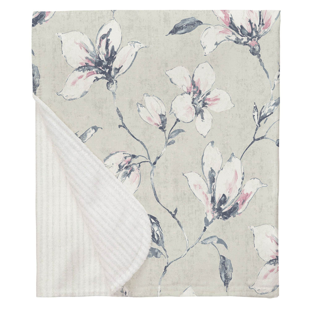 Product image for Pink and Blue Painted Lilies Baby Blanket