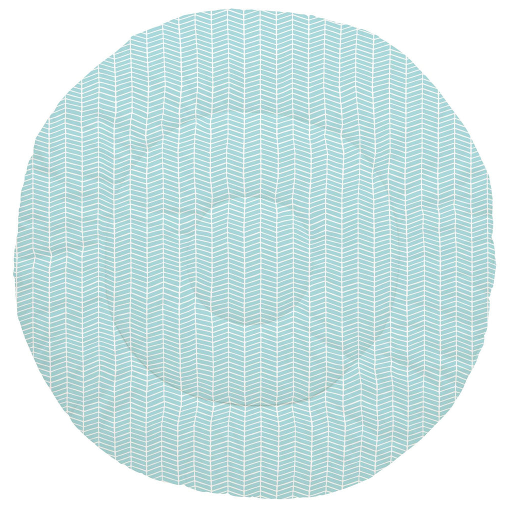 Product image for Seafoam Aqua Herringbone Baby Play Mat