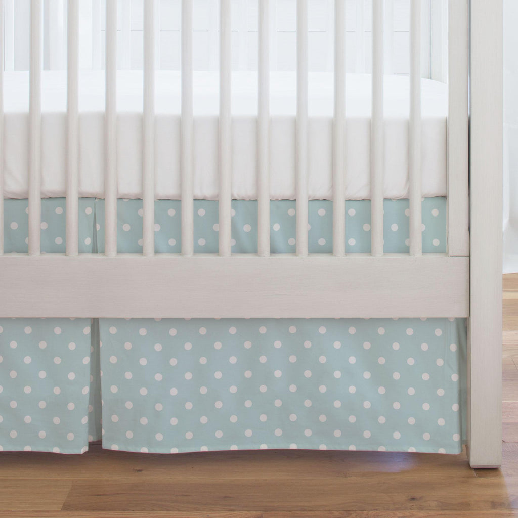 Product image for Mist and White Polka Dot Crib Skirt Single-Pleat