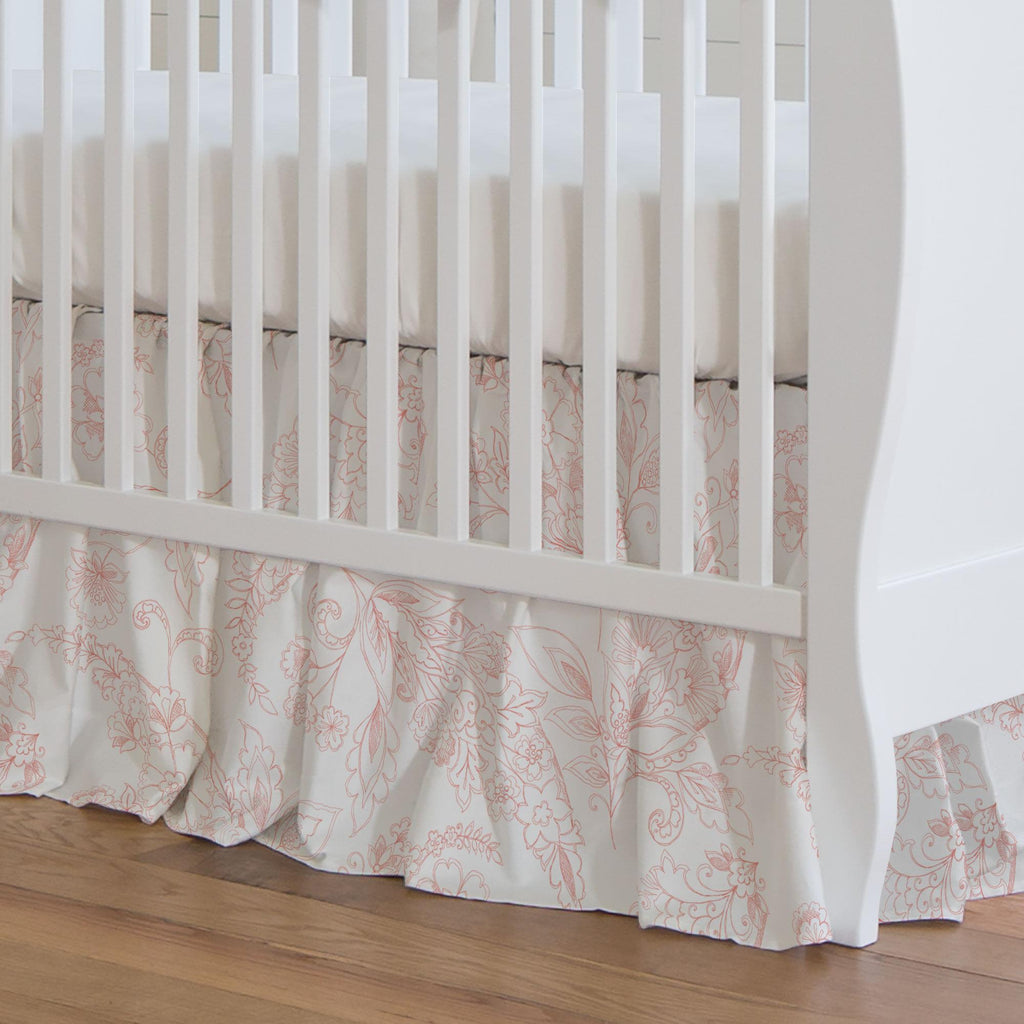 Product image for Light Coral Sketchbook Floral Crib Skirt Gathered