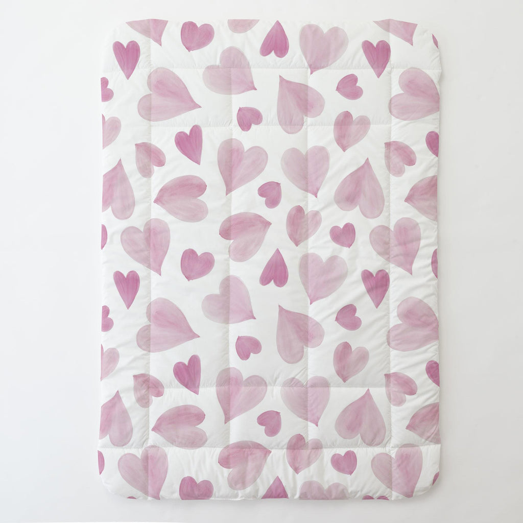 Product image for Pink Watercolor Hearts Toddler Comforter