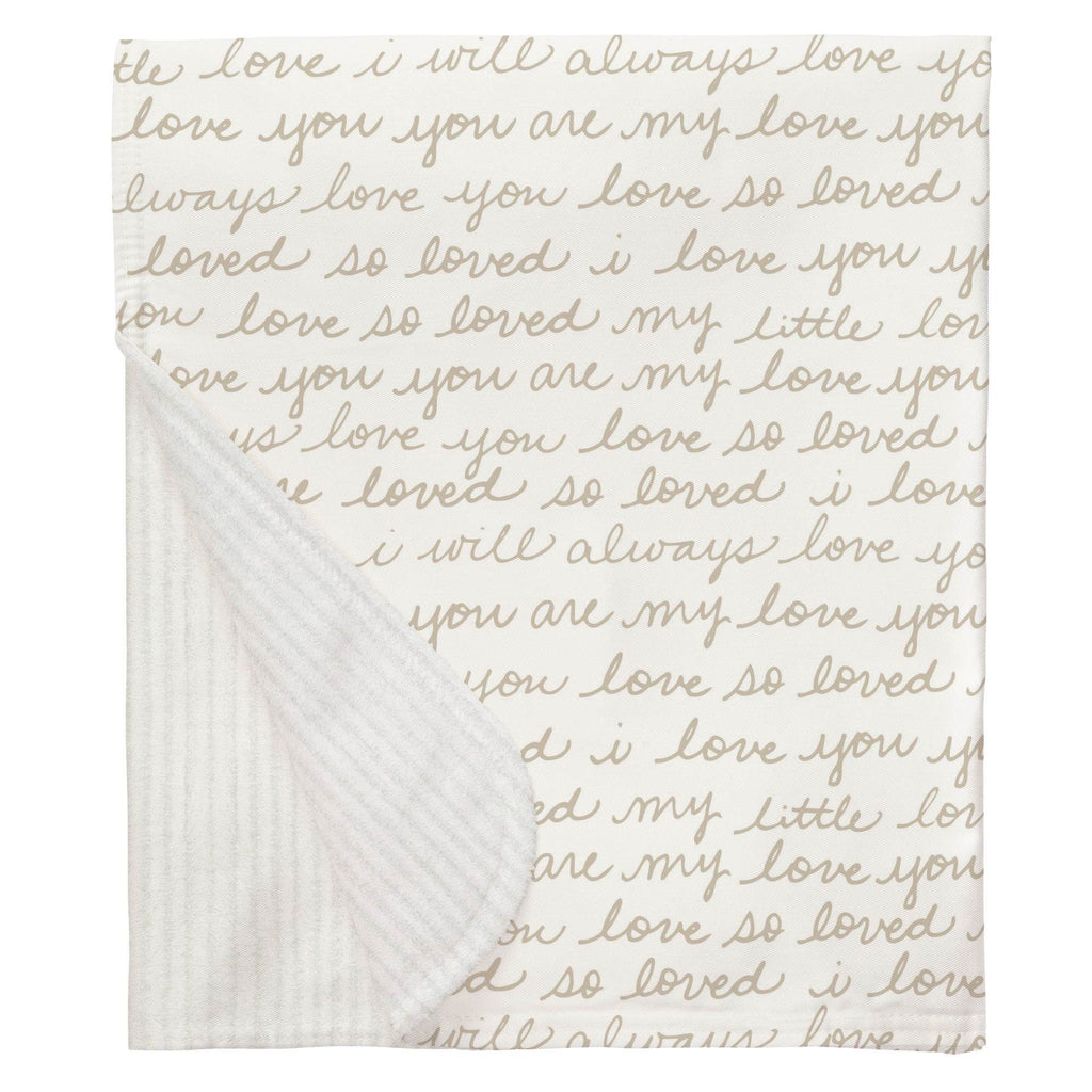 Product image for Taupe Love Words Baby Blanket