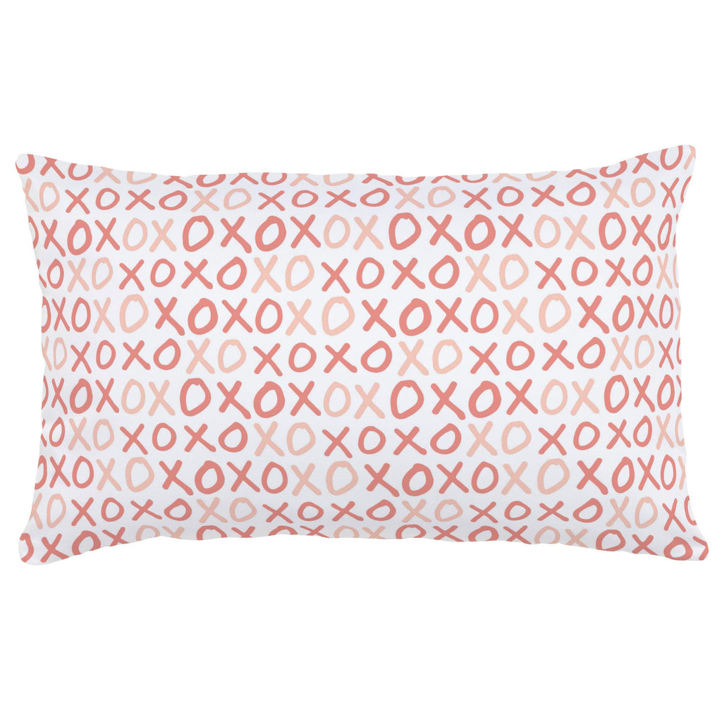 Product image for Light Coral and Peach XO Lumbar Pillow