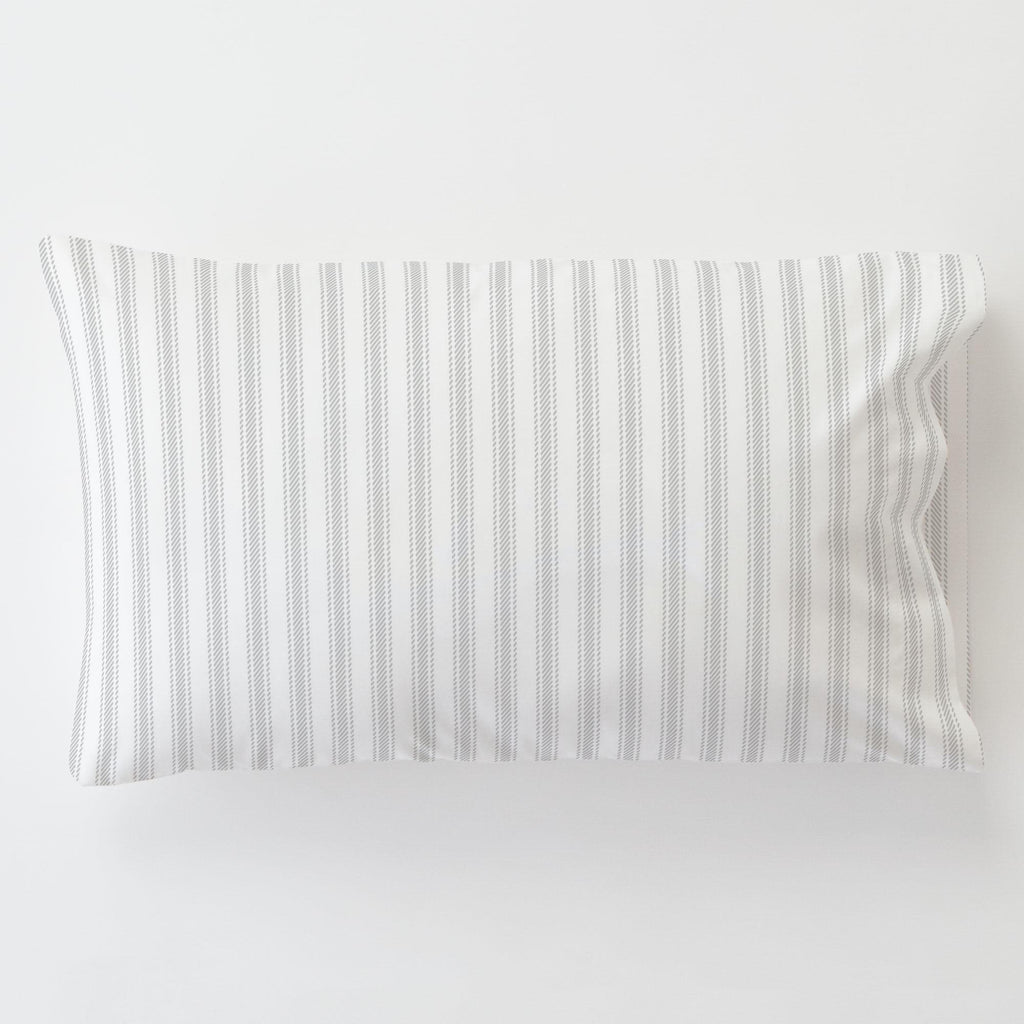 Product image for French Gray Ticking Stripe Toddler Pillow Case with Pillow Insert