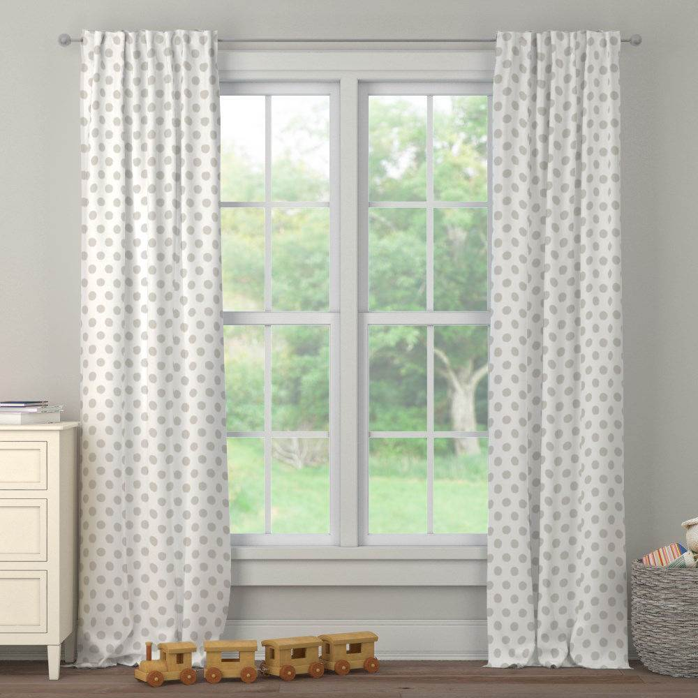 Product image for French Gray Brush Dots Drape Panel