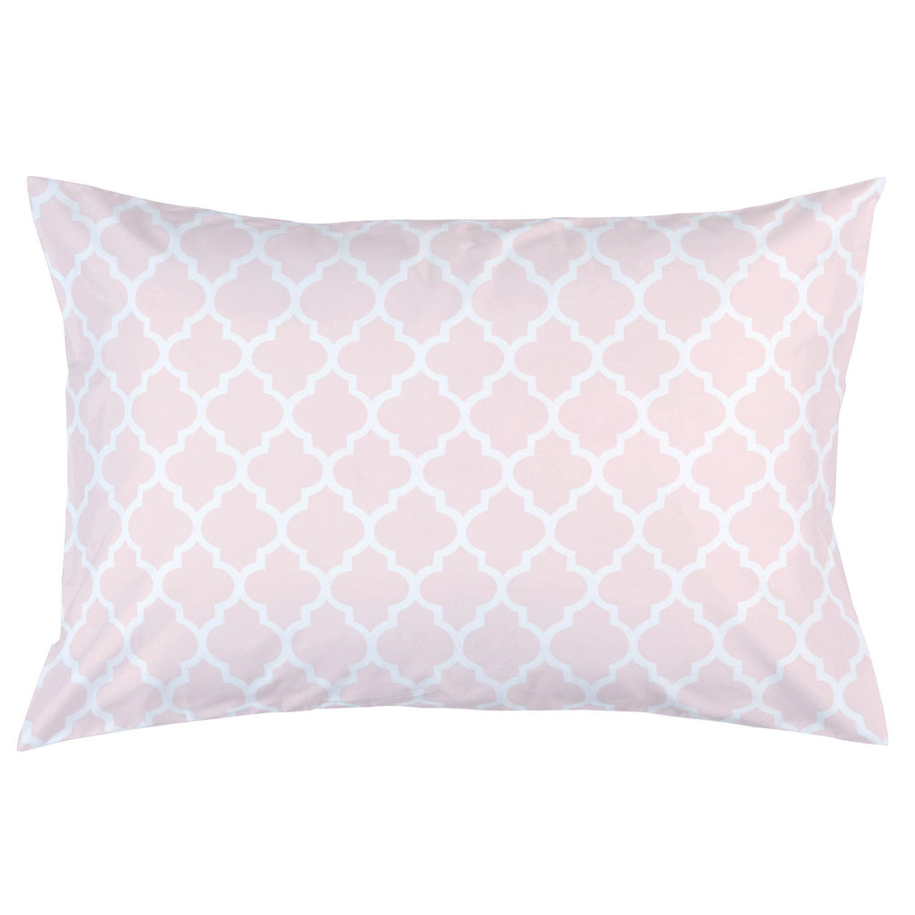Product image for Blush Pink Hand Drawn Quatrefoil Pillow Case