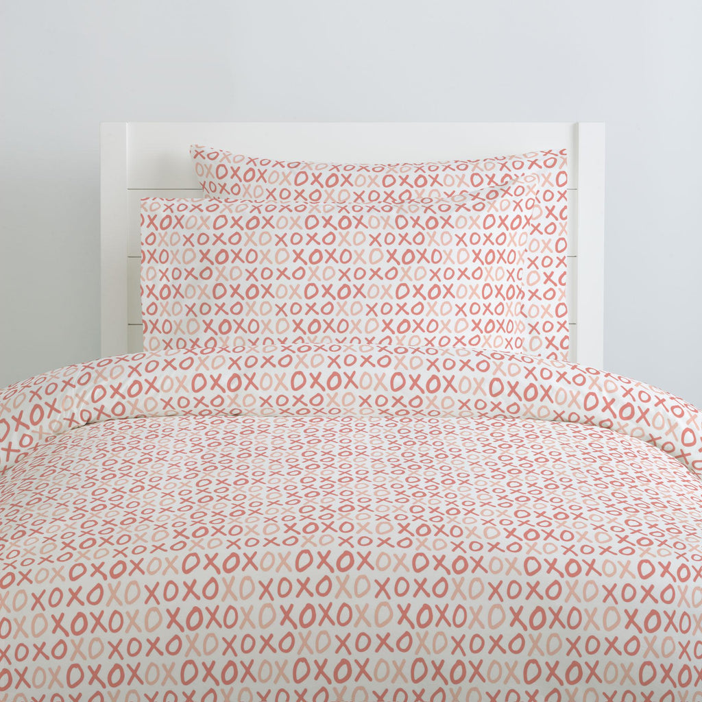 Product image for Light Coral and Peach XO Duvet Cover