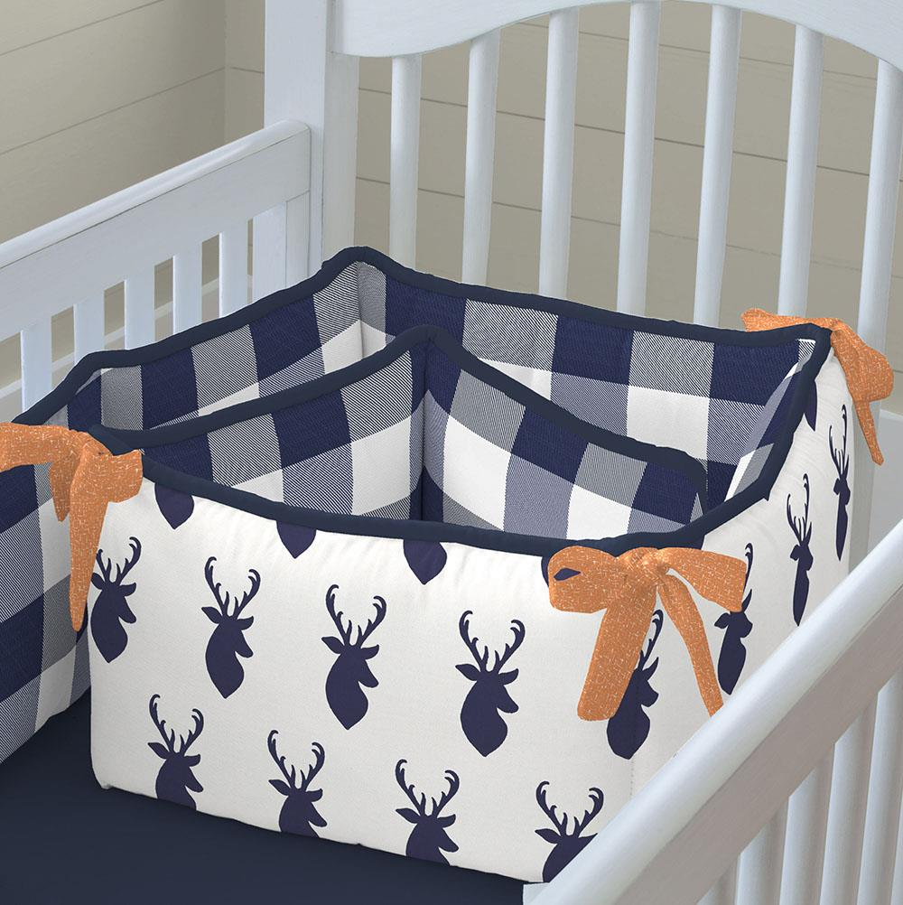 Product image for Windsor Navy Deer Head Crib Bumper