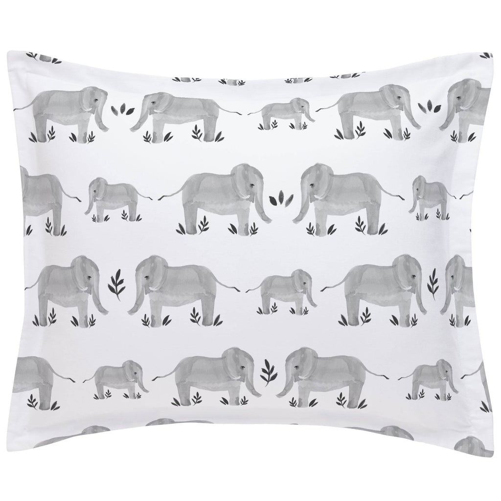 Product image for Gray Painted Elephants Pillow Sham