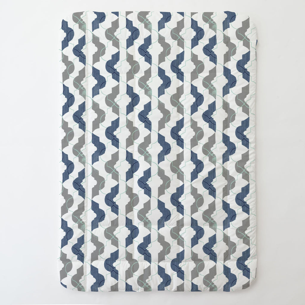 Product image for Denim and Gray Modern Quatrefoil Toddler Comforter
