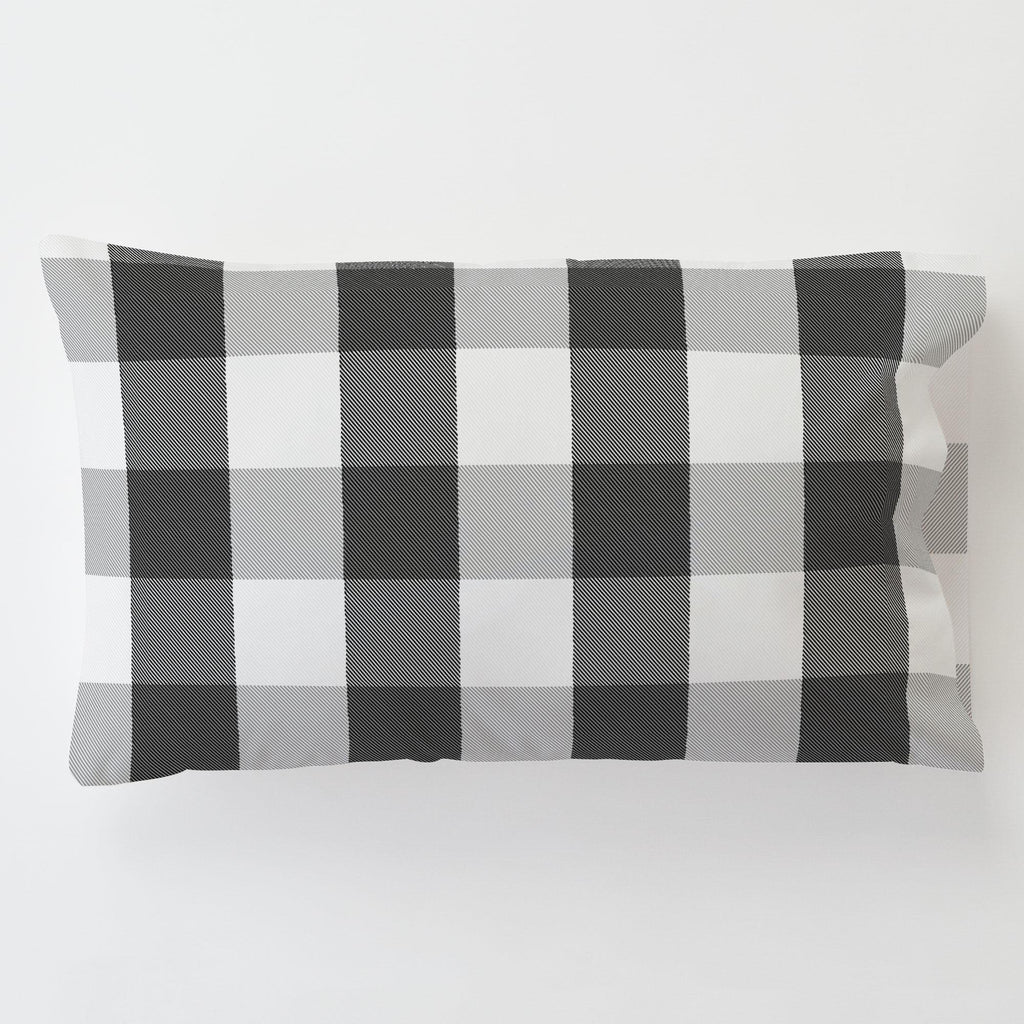 Product image for Onyx and Cloud Gray Buffalo Check Toddler Pillow Case with Pillow Insert