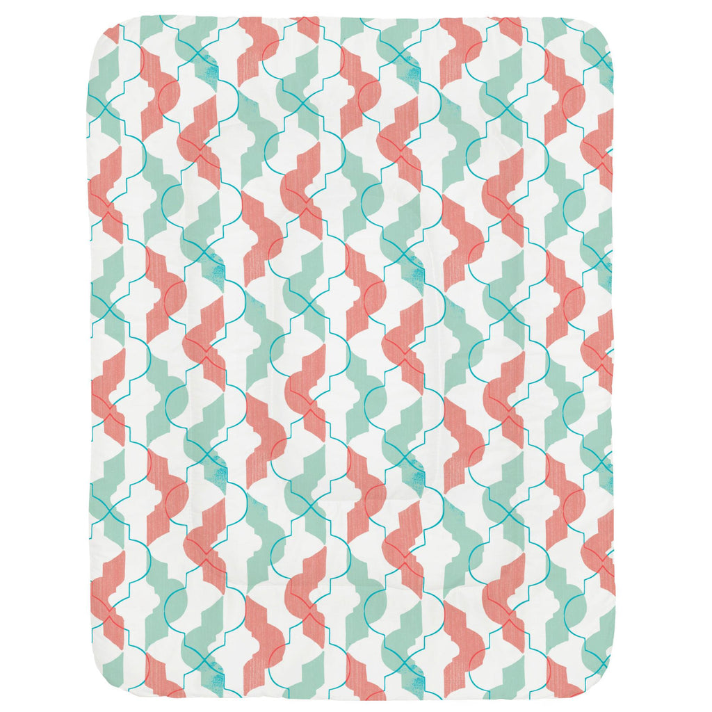 Product image for Coral and Teal Modern Quatrefoil Crib Comforter