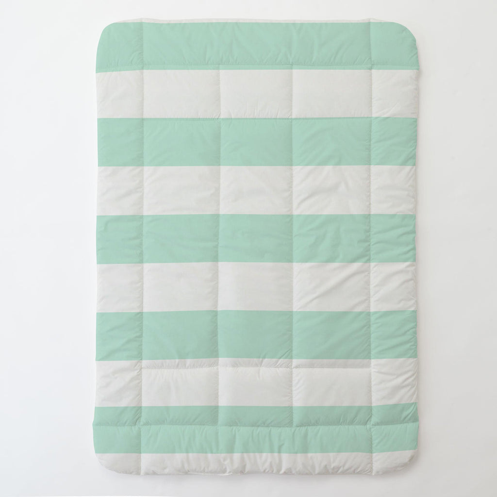 Product image for Icy Mint Horizontal Stripe Toddler Comforter