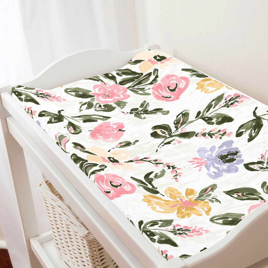 Product image for Coral Pink Garden Changing Pad Cover