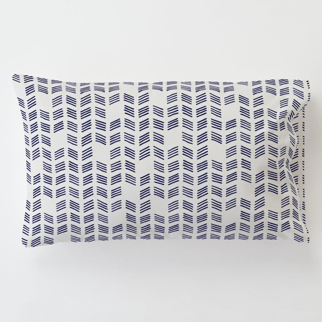 Product image for Windsor Navy Tribal Herringbone Toddler Pillow Case with Pillow Insert