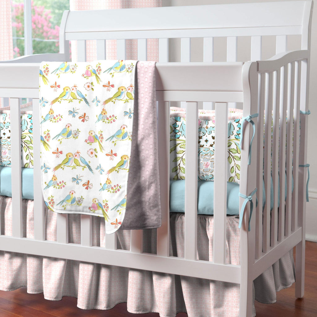 Product image for Pink Circles Mini Crib Skirt Gathered
