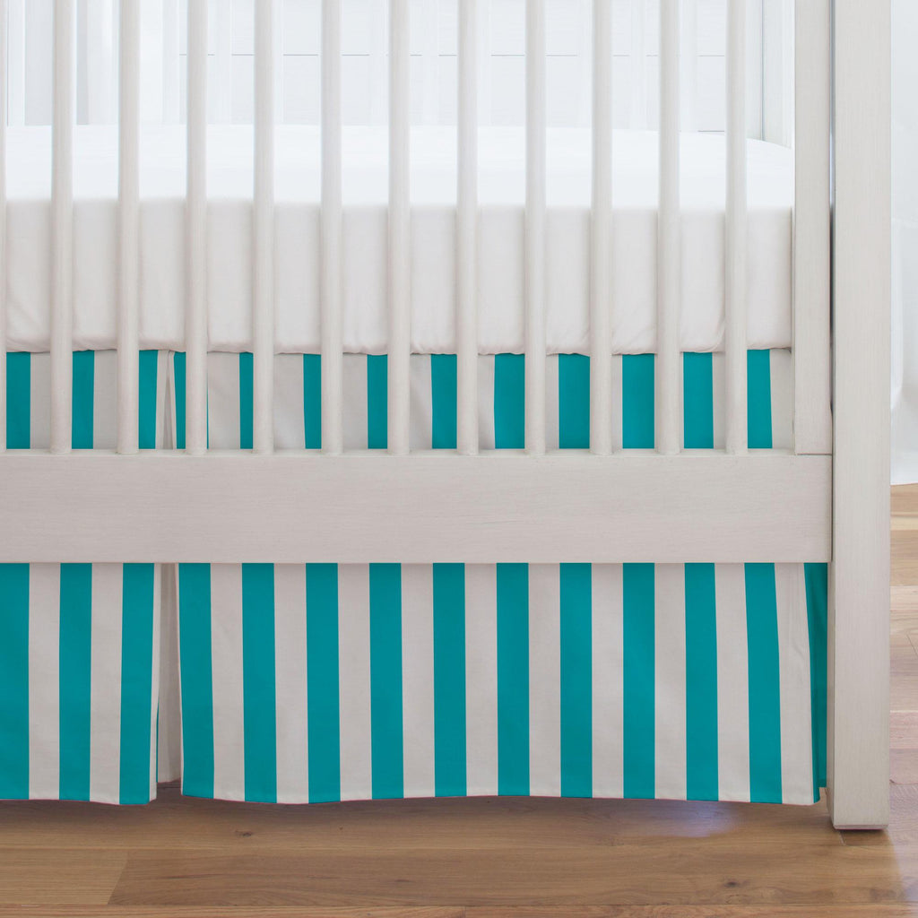 Product image for Teal Stripe Crib Skirt Single-Pleat