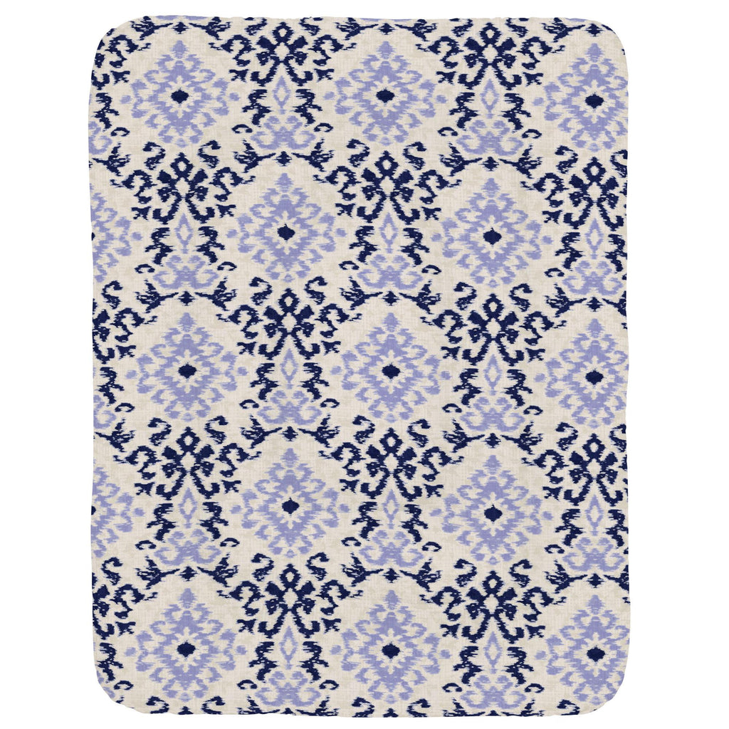 Product image for Navy and Lavender Ikat Damask Crib Comforter