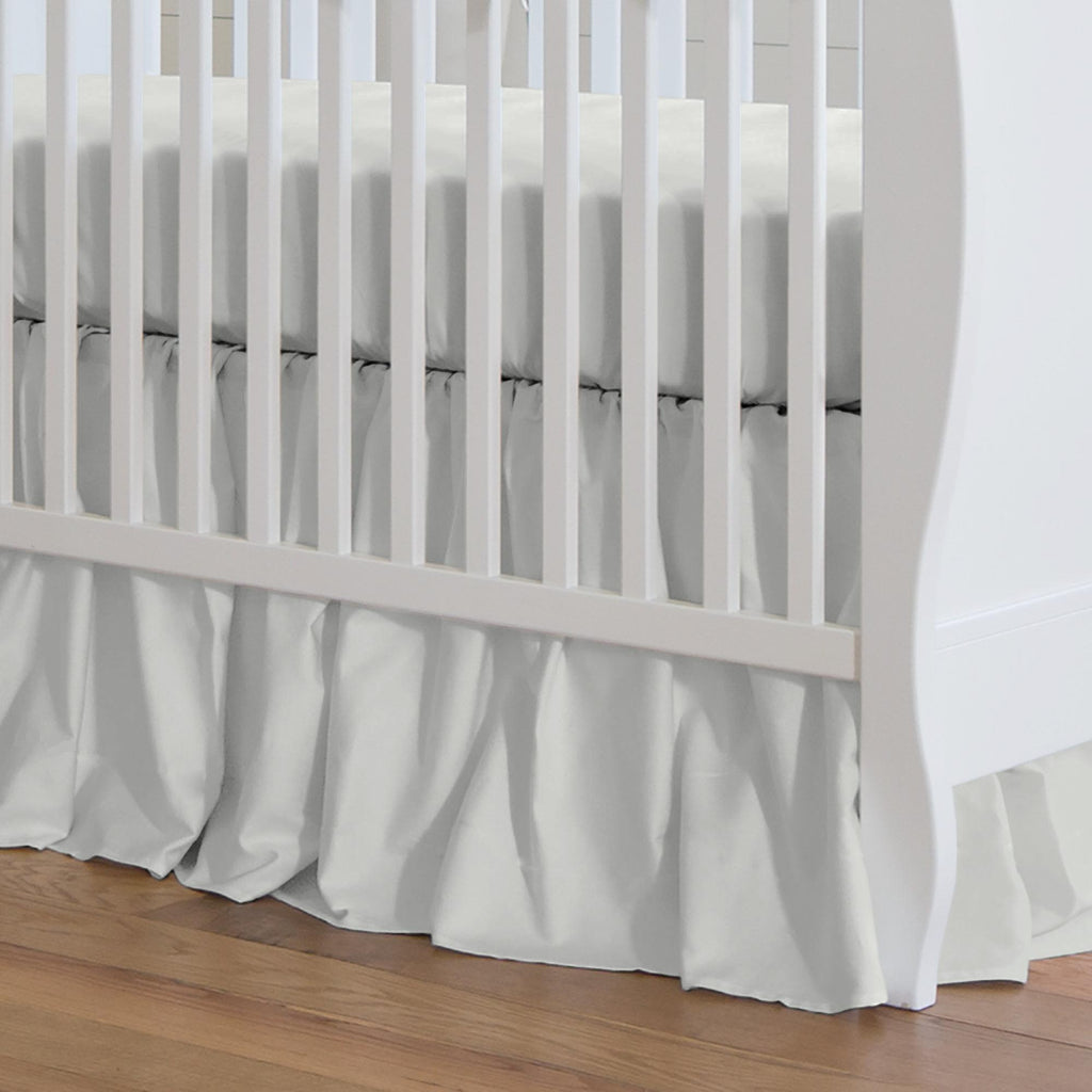 Product image for Solid Silver Gray Crib Skirt Gathered