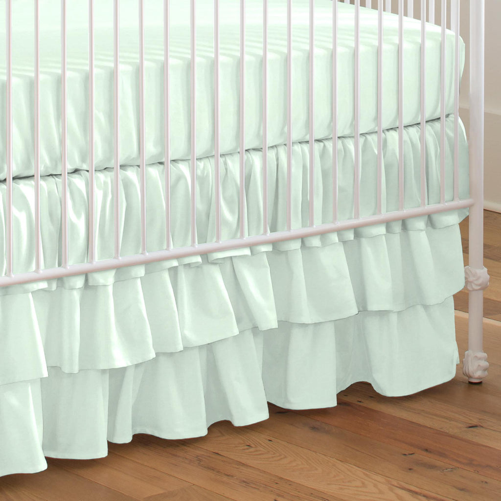 Product image for Solid Icy Mint Crib Skirt 3-Tiered