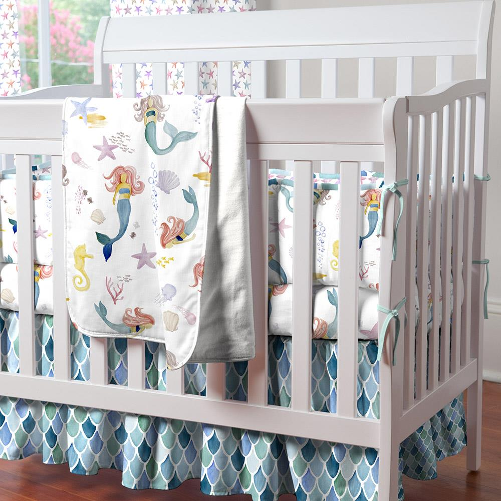 Product image for Blue Watercolor Scales Mini Crib Skirt Gathered