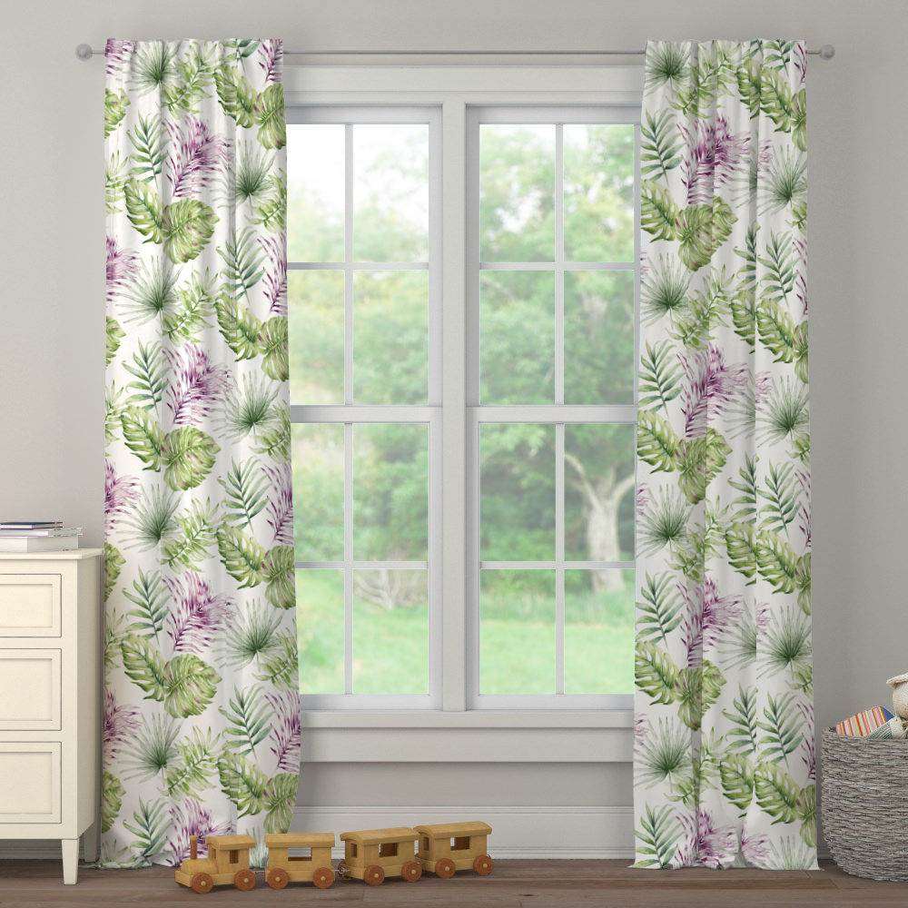 Product image for Purple Painted Tropical Drape Panel