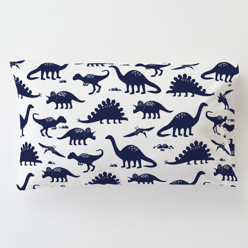 Product image for Navy Dinosaurs Toddler Pillow Case with Pillow Insert