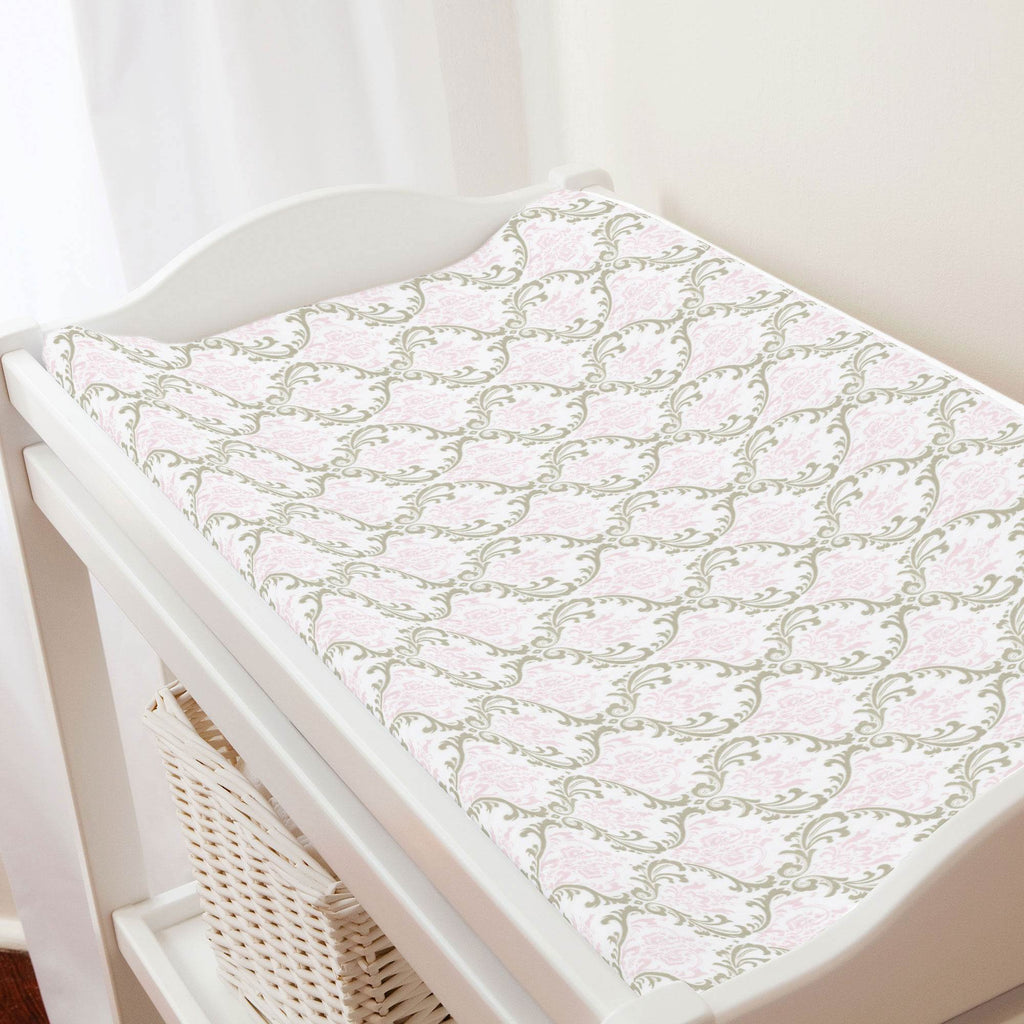 Product image for Pink and Taupe Damask Changing Pad Cover