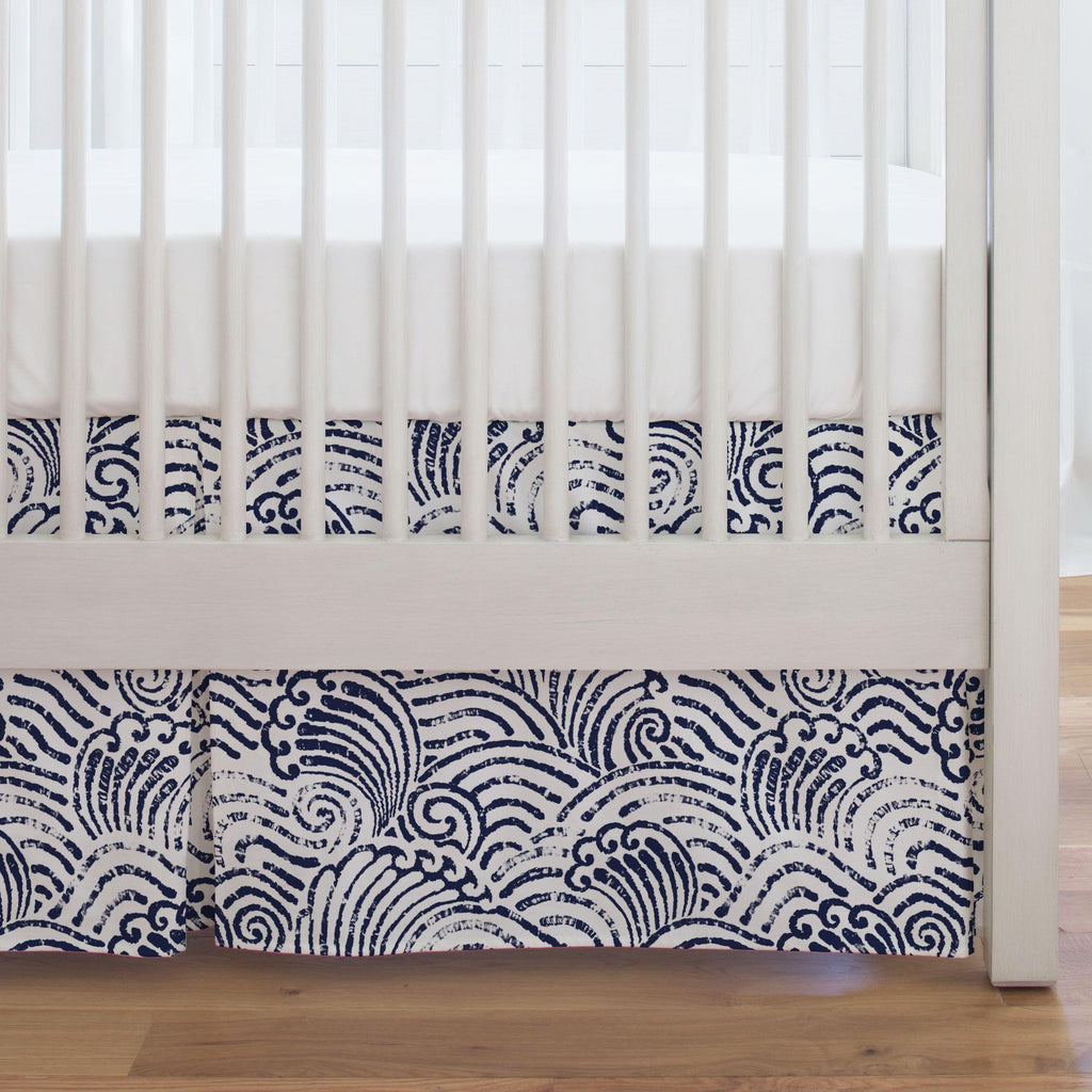 Product image for Navy Seas Crib Skirt Single-Pleat