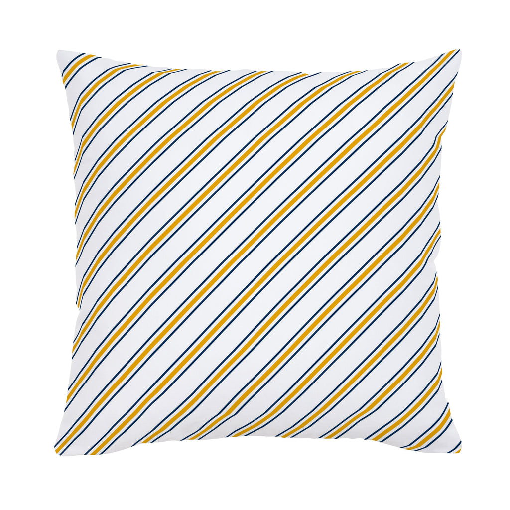 Product image for Navy and Yellow Necktie Stripe Throw Pillow