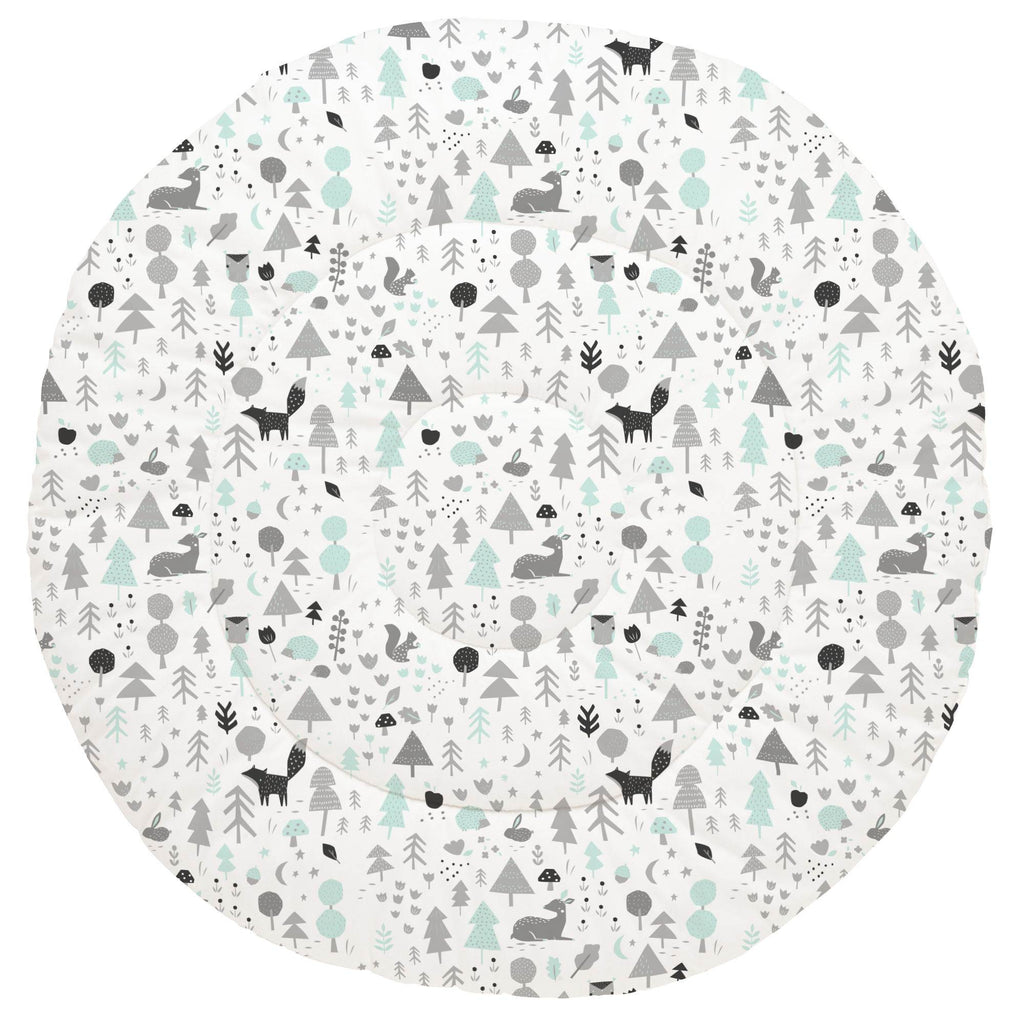 Product image for Icy Mint and Silver Gray Baby Woodland Baby Play Mat