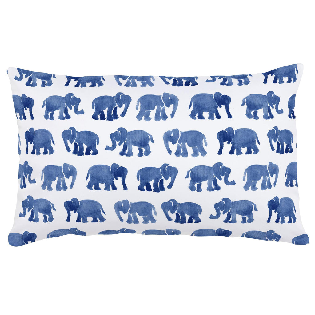 Product image for Blue Watercolor Elephants Lumbar Pillow