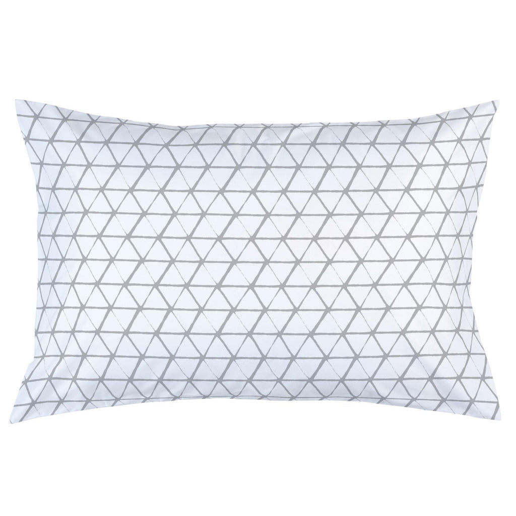 Product image for White and Silver Gray Aztec Triangles Pillow Case