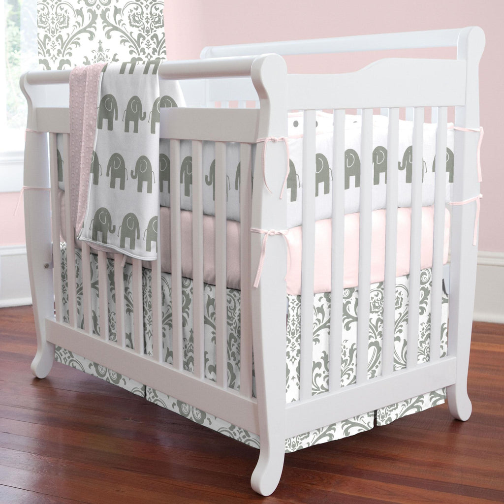 Product image for Pink and Gray Elephants Mini Crib Bumper
