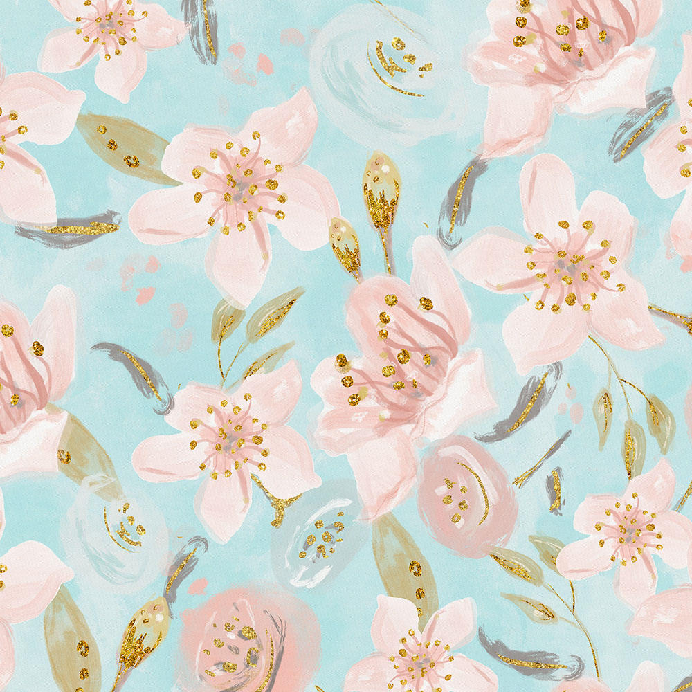 Product image for Aqua and Pink Hawaiian Floral Fabric