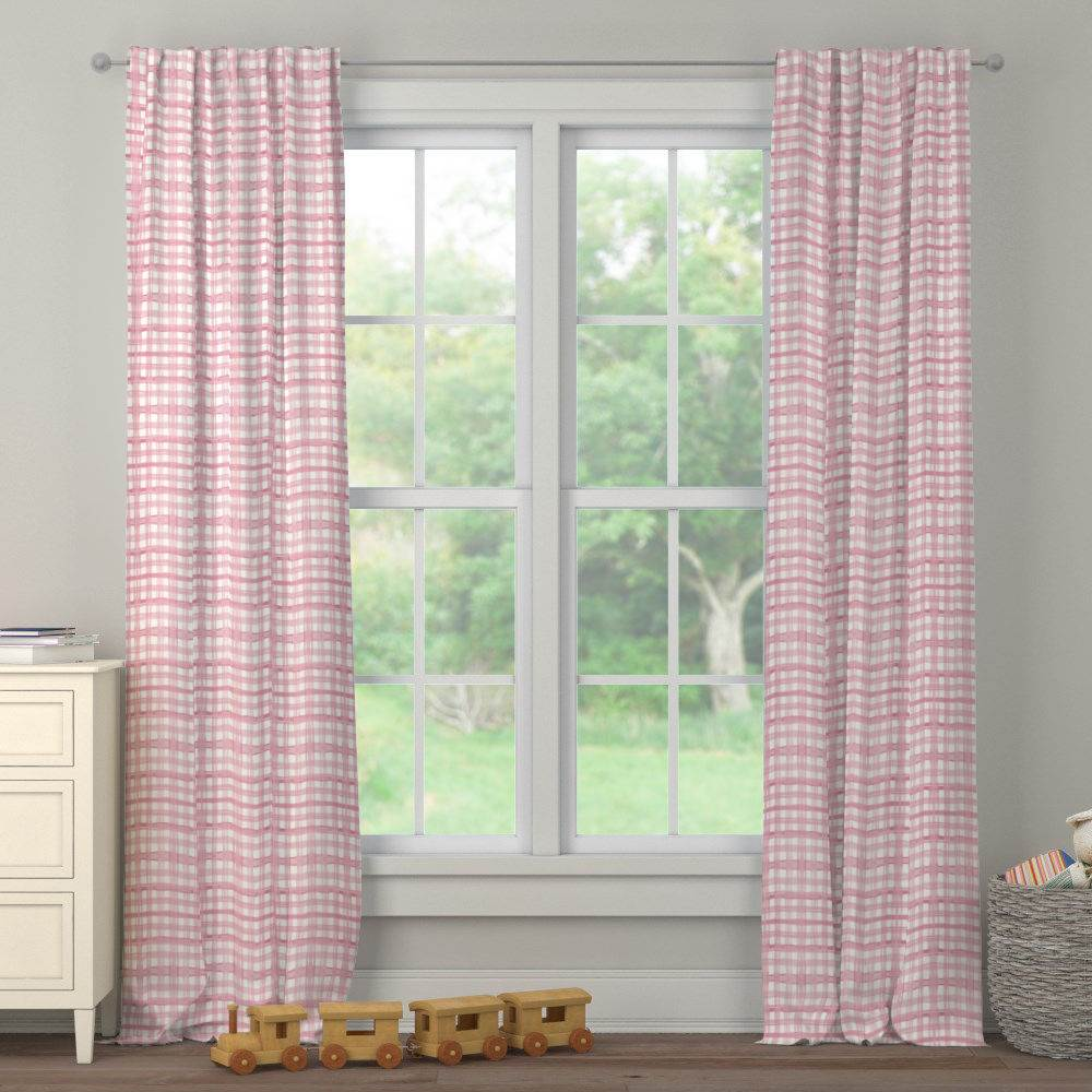 Product image for Pink Watercolor Plaid Drape Panel