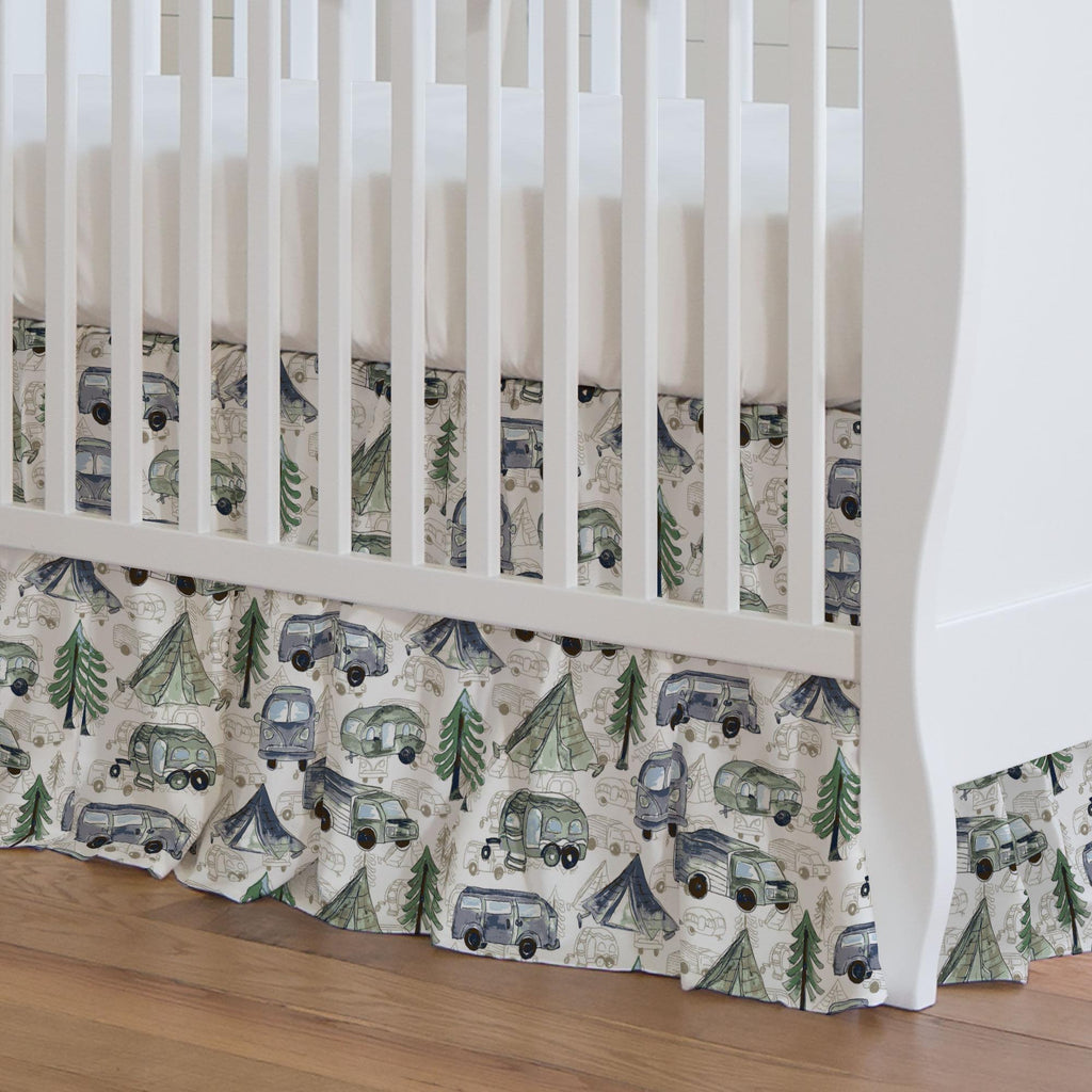Product image for Navy and Seafoam Gone Camping Crib Skirt Gathered
